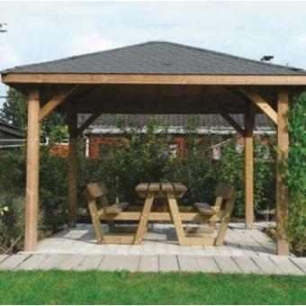Kiosque de jardin 12,04 m² Solid 3m47 x 3m47 Sans Ancrage Shingle rouge