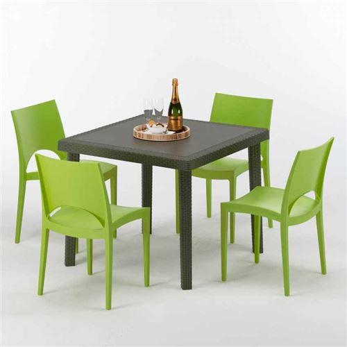 Table carrée et 4 chaises colorées Poly-rotin résine 90x90 marron, Chaises Modèle: Paris Vert