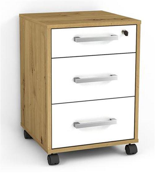 Caisson de bureau coloris artisan chêne / blanc brillant - L.40 x P.40 x H.57 cm -PEGANE-