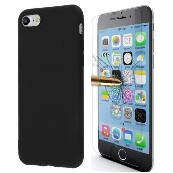 Coque Etui Houe silicone Noir Apple iPhone 6S vitre de Protection en Verre trempe