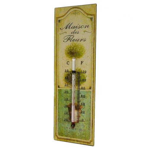 L'Héritier Du Temps - Thermomètre mural ou à poser décoratif en celsius et farenheit motif 'floral' en fer et papier vernis 0,5x8x25cm