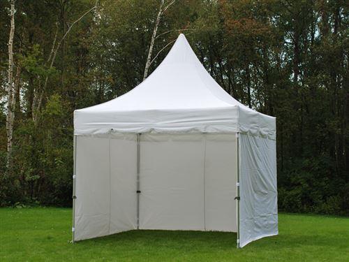 Tente pliable FleXtents PRO Peak Pagoda 3x3m Blanc, Incl. 4 parois latérales