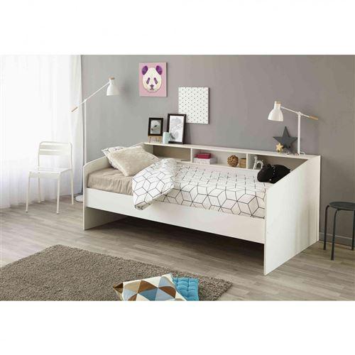 Lit 90x200 en bois blanc megève - LT1028 - Terre de Nuit