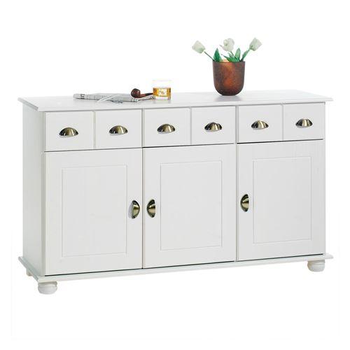 Buffet COLMAR commode bahut vaisselier meuble bas rangement avec 3 tiroirs et 3 portes, en pin massif lasuré blanc