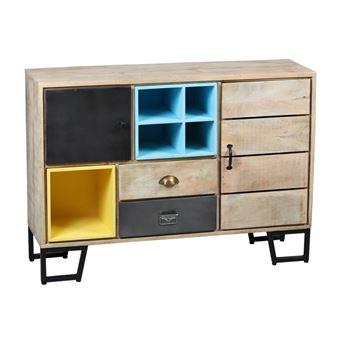 meuble dentre 2 portes 2 tiroirs boismtal supply l 120 x l 35 x h 80 achat prix fnac