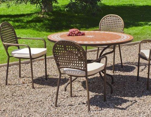 Hevea - Salon de jardin table ronde et fauteuils 4 places