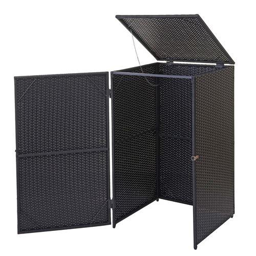 Enveloppement pour poubelle HWC-E25, box pour poubelles, revêtement, polyrotin 2x120l ~ noir
