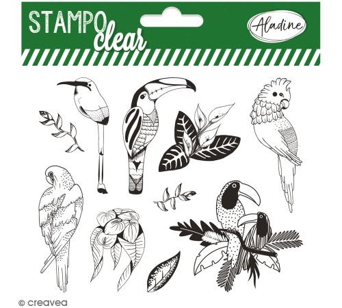 Kit Stampo Clear - Oiseaux tropicaux - 10 tampons clear