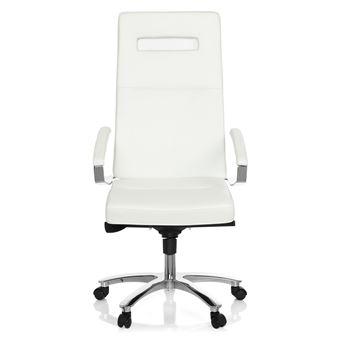 Chaise De Bureau Pivotante PALANGA Cuir Blanc Chrome Hjh OFFICE
