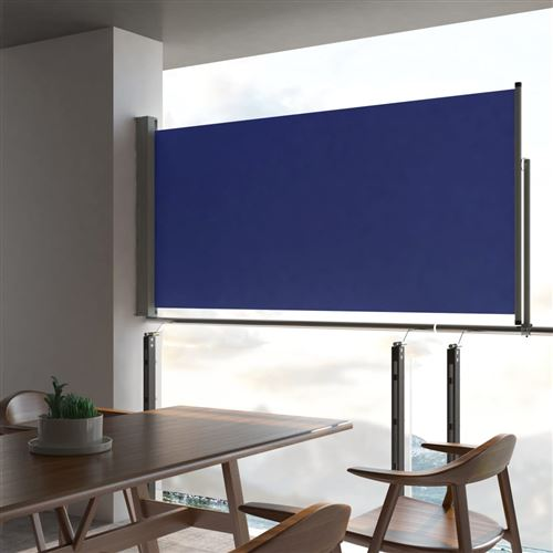 Auvent latéral rétractable de patio 120x300 cm Bleu