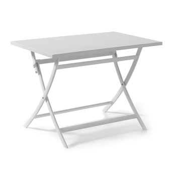 Table pliante rectangulaire en alu blanc 110 x 70 cm Grace ...