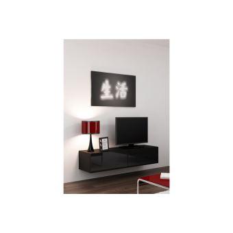 Meuble Tv Design Suspendu Vito 140cm Noir