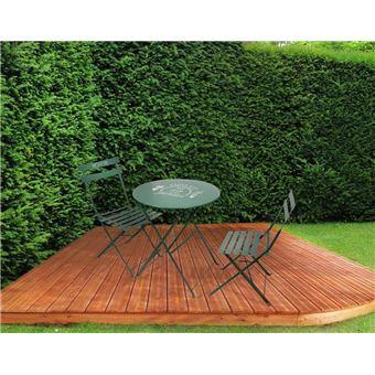 The Home Deco Factory - Table et chaises de jardin en métal Illustrations  Vert foncé