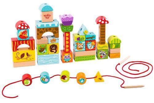 Tooky Toy ensemble de blocs forestiers junior bois 40 pièces