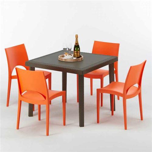 Table carrée et 4 chaises colorées Poly-rotin résine 90x90 marron, Chaises Modèle: Paris orange