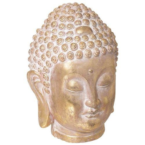 Statuette Design Tête Bouddha 34cm Or