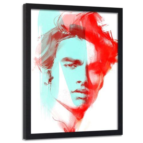 Feeby Cadre noir mural Image encadrée Tableau décoratif, Portrait rouge homme 50x70 cm