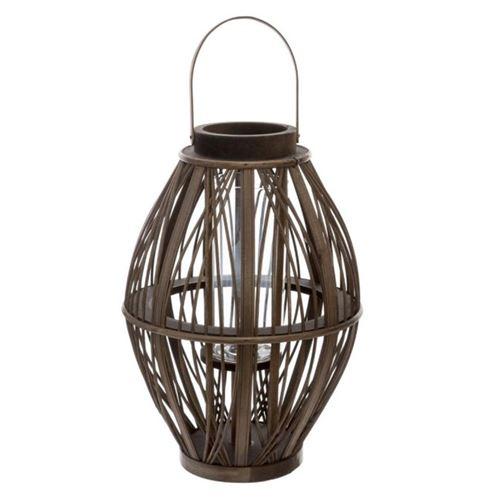 Lanterne Déco en Rotin Tressée 39cm Marron