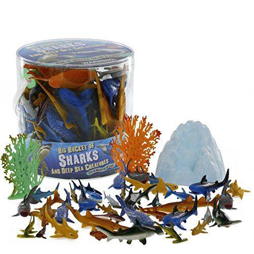 Seau de figurines SCS Direct Sharks et Deep Sea Creatures - Ensemble de 41 pièces énormes