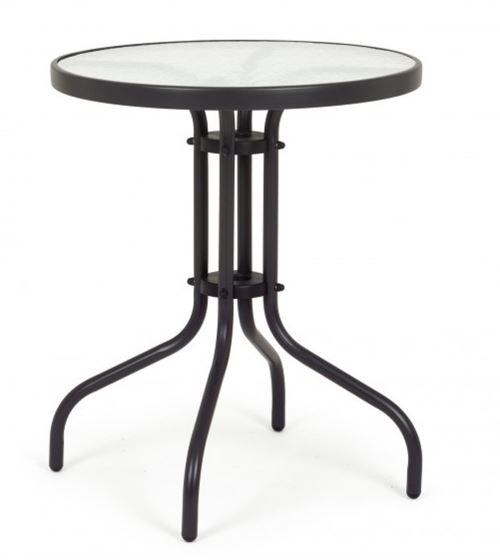 Table en acier et verre coloris blanc - Dim : Ø 60 x H 70 cm -PEGANE-