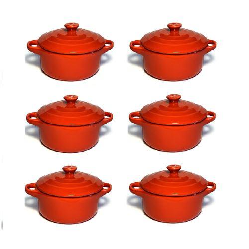 Lot de 6 mini cocottes rouges double poignée avec couvercle Hobby Cook