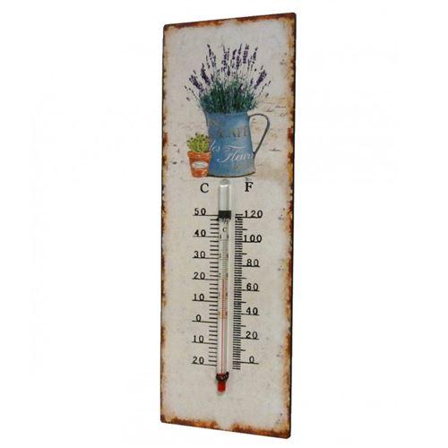 L'Héritier Du Temps - Thermomètre mural décoratif en celsius et farenheit ou à poser motif 'nature ancienne' en fer et papier vernis 0,5x8x25cm