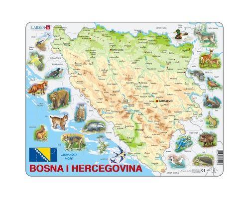 Puzzle 57 Pièces : Puzzle Cadre - Carte de Bosnie Herzégovine avec ses Animaux (en langue Bosniaque), Larsen