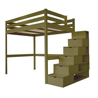 ABC MEUBLES - Lit Mezzanine Sylvia avec escalier cube bois - CUBE ...
