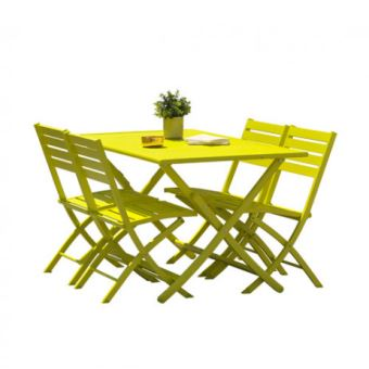 Kit MARIUS en aluminium table pliante 140x80 cm + 4 chaises ...