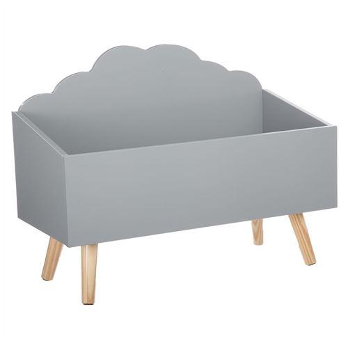 Coffre à jouets nuage gris en bois