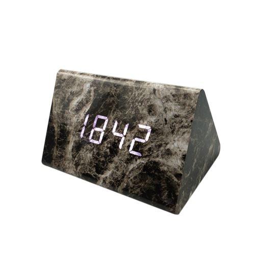 Commande Vocale Calendrier Thermomètre Numérique Led Alarme Horloge en Bois Usb / Aaa Noir PL563