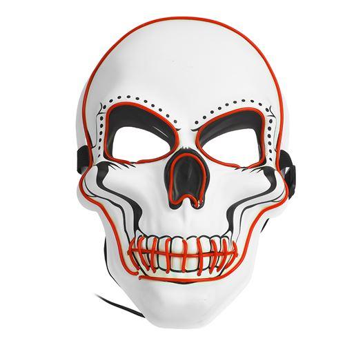 Masque lumineux de Halloween Pitre Blanc 3 modes d'éclairage Rouge
