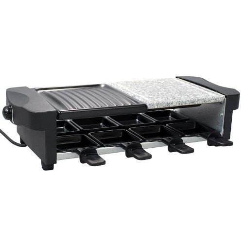 Todeco - Set à Raclette 3 en 1, Grillade en Pierre Naturelle, Noir, Dimensions: 52 x 20,5 x 12,8 cm