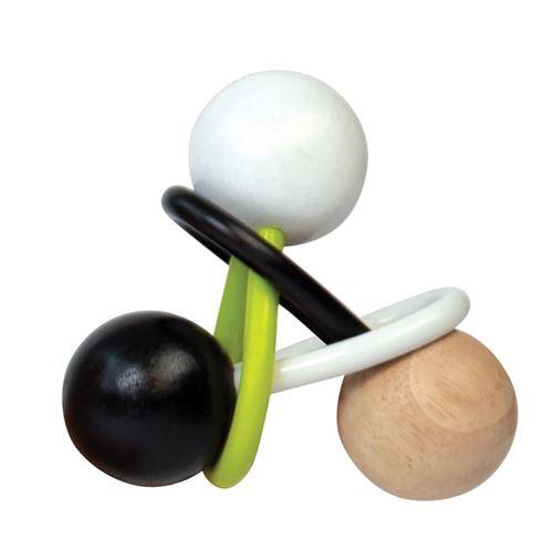 Manhattan Toy anneau de dentition junior 11,43 cm bois/ silicone noir/blanc/vert