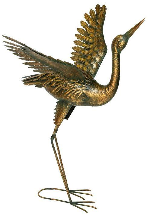 Fountasia - Héron décoratif en métal doré ailes ouvertes 80 cm