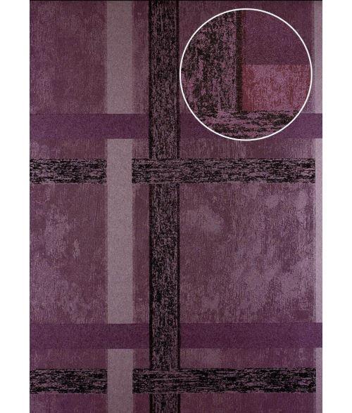 Papier peint à rayures Atlas 24C-0605-2 papier peint intissé lisse avec des figures géométriques et des accents métalliques pourpre violet-pastel cuivré 7,035 m2