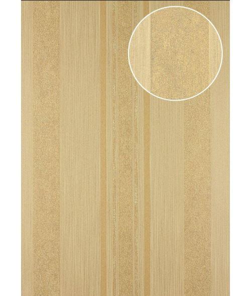 Papier peint à rayures Atlas 24C-9505-7 papier peint intissé lisse avec un dessin graphique et des accents métalliques brun beige or 7,035 m2