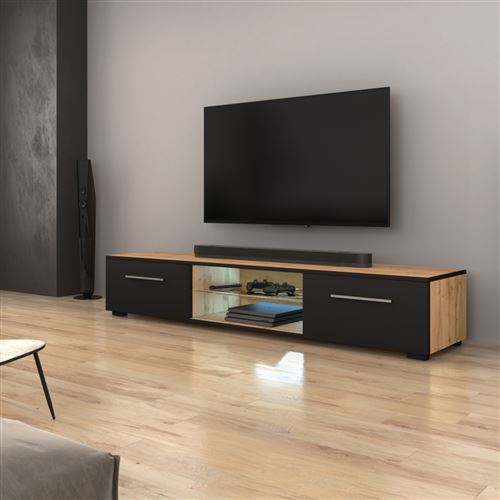 Meuble Tv Meuble Salon Syvis 140 Cm Chene Wotan Noir Mat Avec Led Style Moderne Meuble Tv Achat Prix Fnac