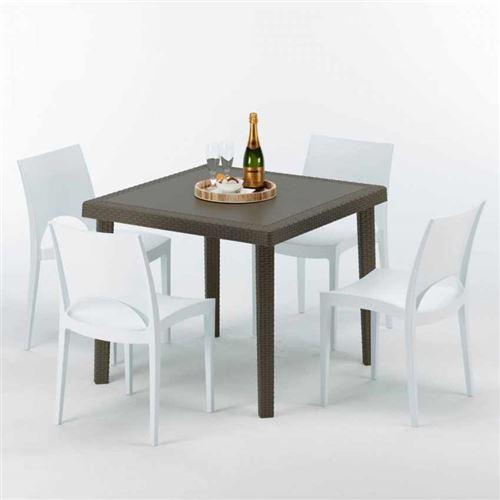 Table carrée et 4 chaises colorées Poly-rotin résine 90x90 marron, Chaises Modèle: Paris Blanc