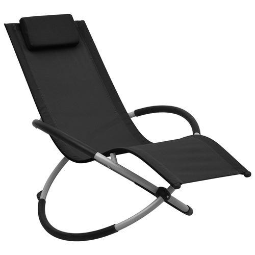 Chaise longue pour enfants Acier Noir 47793