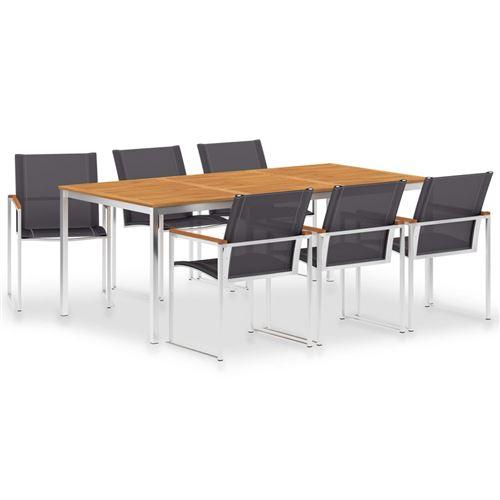 vidaXL Mobilier à dîner 7 pcs Textilène et acier inoxydable