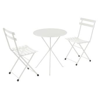 Salon de jardin 2 personnes en acier et tôle pleine: chaises + 1 table  pliantes GUERIDON/RAINBOW blanc