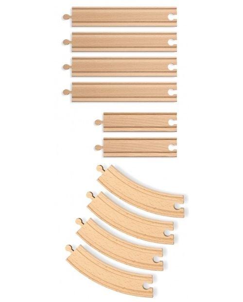 Coffret de rails en bois : 4 rails courbes et de 6 rails droits pour train en bois - jouet eichhorn