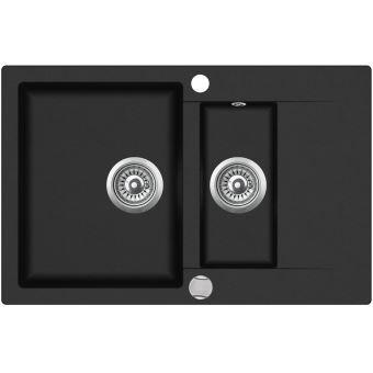 evier granit noir 1 bac 12 et 1 gouttoir cuba installations cuisine achat prix fnac - Evier 1 Bac 1 2