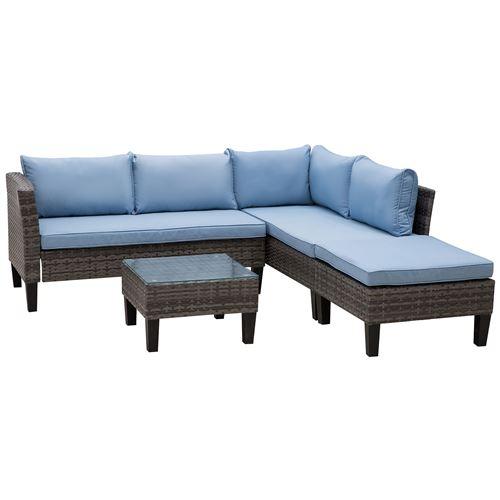 Ensemble salon de jardin 3 pièces canapé d'angle 4 places, pouf, table basse plateau verre trempé 8 coussins bleu résine tressée grise