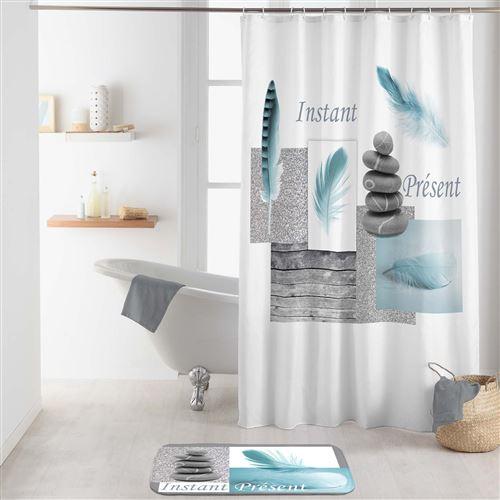rideau de douche avec crochets 180 x 200 cm polyester Equilibre