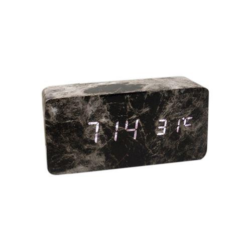 Commande Vocale Calendrier Thermomètre Numérique Led Alarme Horloge en Bois Usb / Aaa Noir PL565