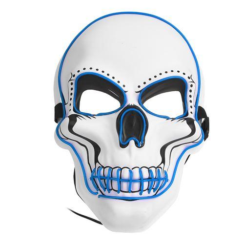Masque lumineux de Halloween Pitre Blanc 3 modes d'éclairage Bleu
