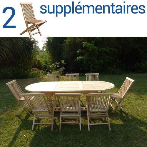 Ensemble salon de jardin en teck MAHUI 8+2 chaises - Bundle chaises