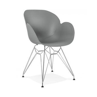 62EUR Sur Chaise Moderne Chipie Grise En Matire Plastique Avec Pieds Mtal Chrom
